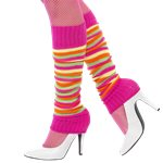 Pink Neon Striped Leg Warmers