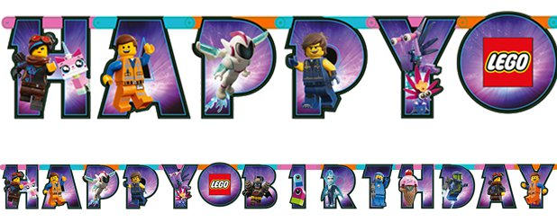 Lego Movie 2 Birthday Banner - 1.63m Letter Banner