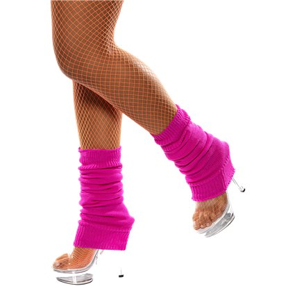 Hot Pink Leg Warmers - Women's 80's Fancy Dress Accessories front