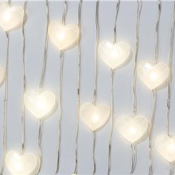 White Heart LED String Lights - 3m