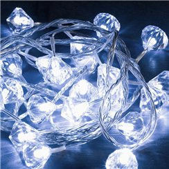 Set Of 10 White Diamond Fairy Lights - 1.9m