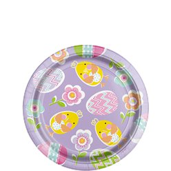 Lilac Easter Paper Dessert Plates - 17cm