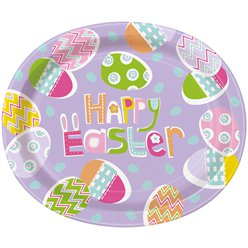 Lilac Easter Oval Paper Plates