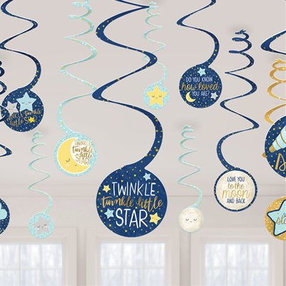 Twinkle Little Star Hanging Swirl Decorations