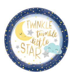 Twinkle Little Star Large Paper Plates - 26cm