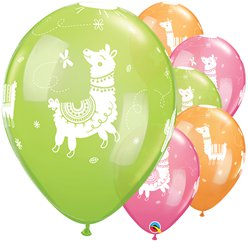 "Llama Balloons - 11"" Assorted Colours Latex Balloons"