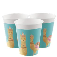 Llama Party Paper Cups - 200ml