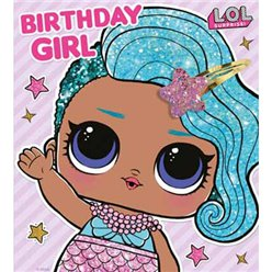 LOL Surprise Birthday Girl Card With Hair Clip