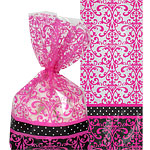 Black & Pink Cello Party Bags - 24cm