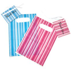 Blue & Pink Stripe Loot Bags & Tags