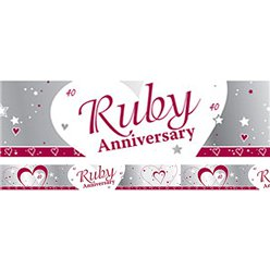 40th Ruby Wedding Anniversary Banner - 2.7m