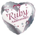 Loving Hearts Ruby Anniversary Balloon - 18