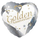 Loving Hearts Golden Anniversary Balloon - 18
