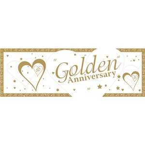 50th Golden Wedding Anniversary Giant Deep Banner - 1.5m x 0.5m
