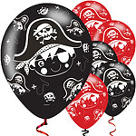 "Little Pirate Black & Red Balloons - 11"" Latex"