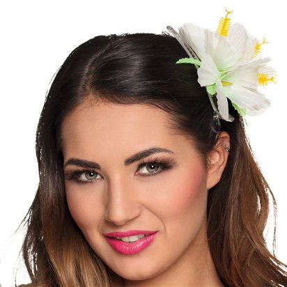White Flower Hair Clip - Hawaiian Summer Party Hats & Accessories front