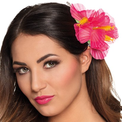 Pink Flower Hair Clip - Hawaiian Summer Party Hats & Accessories front