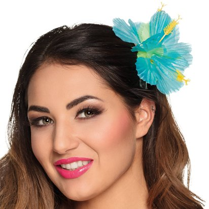 Turquoise Flower Hair Clip - Hawaiian Summer Party Hats & Accessories front