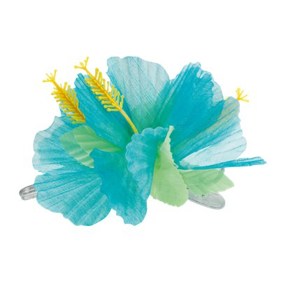 Turquoise Flower Hair Clip - Hawaiian Summer Party Hats & Accessories left