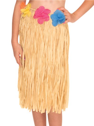 Child's Hula Grass Skirt - Natural with Flowers