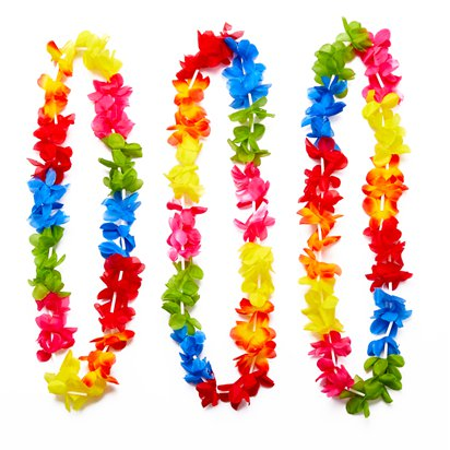 25 Rainbow Hawaiian Leis - Hawaiian Garlands - Summer Party Accessories front