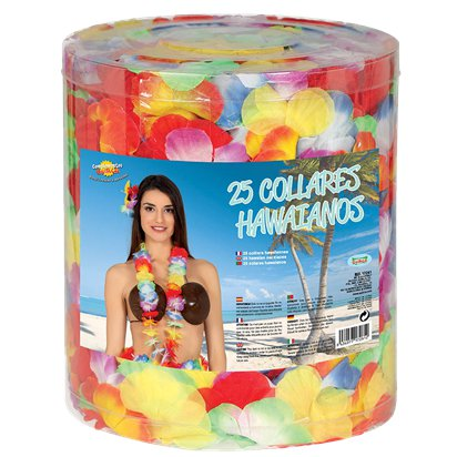 25 Rainbow Hawaiian Leis - Hawaiian Garlands - Summer Party Accessories left
