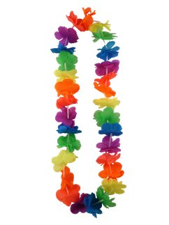 Multi Neon Rainbow Hawaiian Lei - 100cm