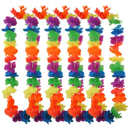Multi Neon Rainbow Hawaiian Lei - 25 Pack front