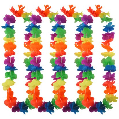Multi Neon Rainbow Hawaiian Lei - 12 Pack front