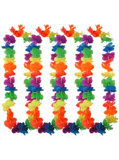 Multi Neon Rainbow Hawaiian Lei - 12 Pack