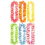 Hawaiian Lei with Beads - 6 Pack Assorted Colours