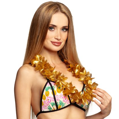 Gold Hawaiian Lei Garland - Summer Party Supplies left