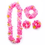Pink Flower Hawaiian Lei Set