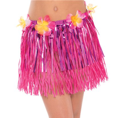 Child's Hula Grass Skirt - Pink & Tinsel front