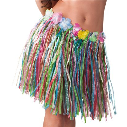 Multicoloured Hawaiian Grass Skirt - Summer Fancy Dress Accessories front