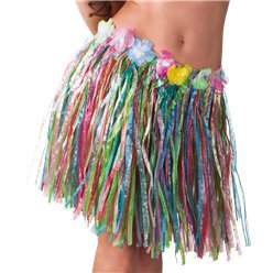Multicoloured Hawaiian Grass Skirt - Adult