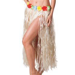 Natural Hawaiian Long Grass Skirt - Adult