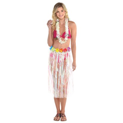 Adult Iridescent Grass Skirt - One Size - Summer Party Supplies front
