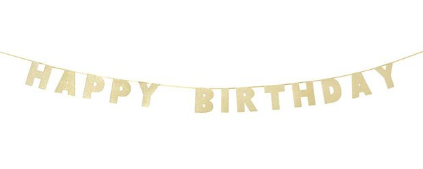 'Happy Birthday' Luxe Gold Letter Banner - 3m