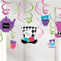 Mad Tea Party Hanging Swirl Decorations