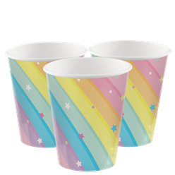 Magical Rainbow Paper Party Cups - 256ml