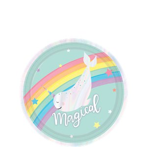 Magical Rainbow Iridescent Paper Dessert Party Plates - 18cm