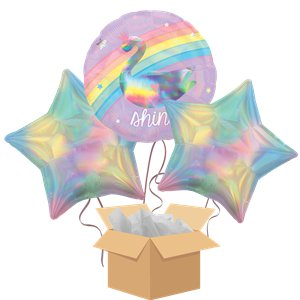 Unicorn & Swan Holographic Balloon Bouquet - Delivered Inflated