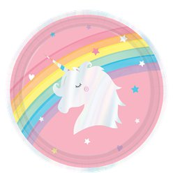 Magical Rainbow Iridescent Paper Party Plates - 23cm