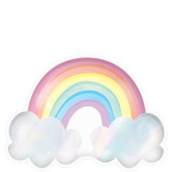 Magical Rainbow Shaped Iridescent Paper Party Plates - 23cm