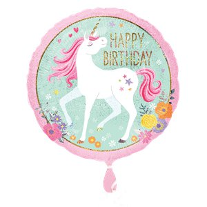 Magical Unicorn 'Happy Birthday' Balloon - 18