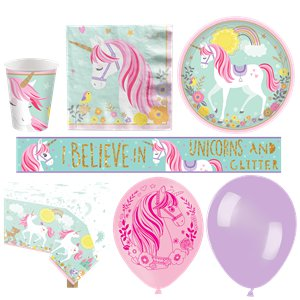 Magical Unicorn Deluxe Party Kit - For 16
