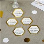 Scripted Marble Wedding Drink Tokens
