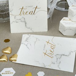 Scripted Marble Wedding Sweetie Bags