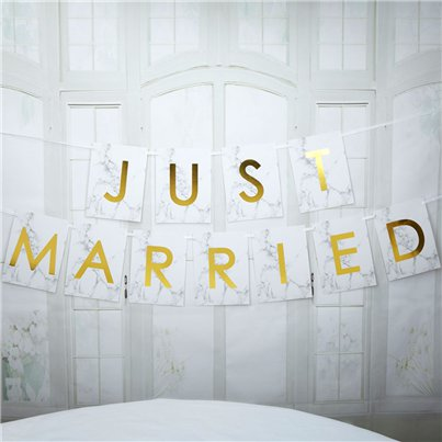 Scripted Marble 'Just Married' Wedding Bunting - 2.5m